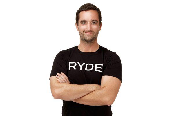 Ryan team member at RYDE indoor cycling studio in Houston, Texas